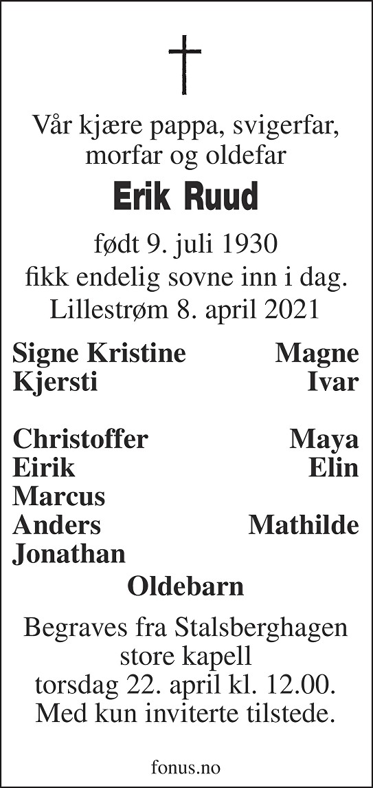 Erik Ruud Dødsannonse
