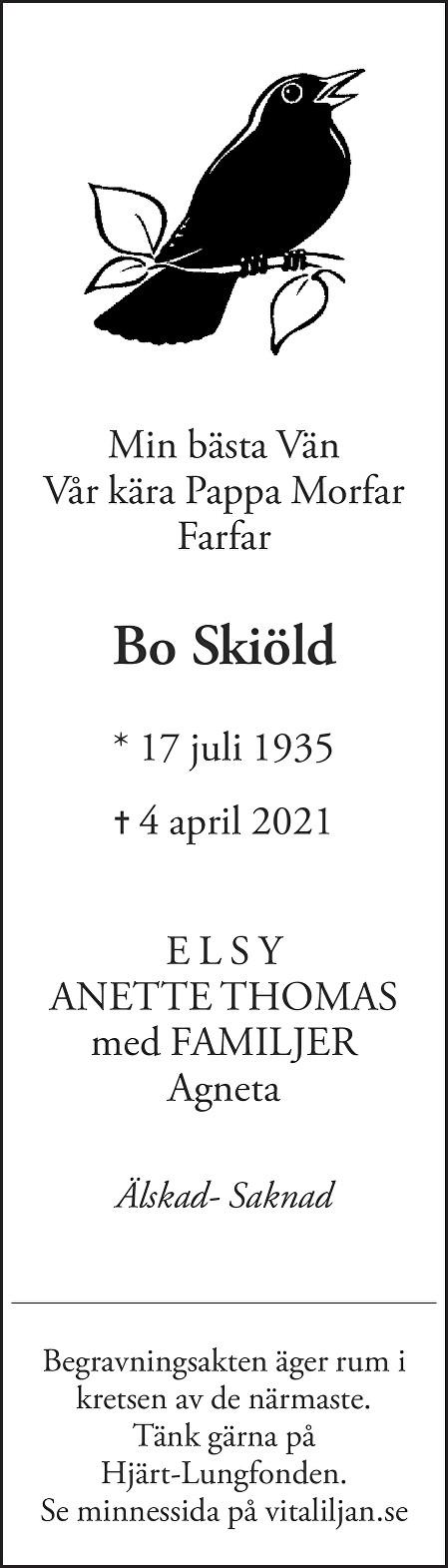 Bo Skiöld Death notice