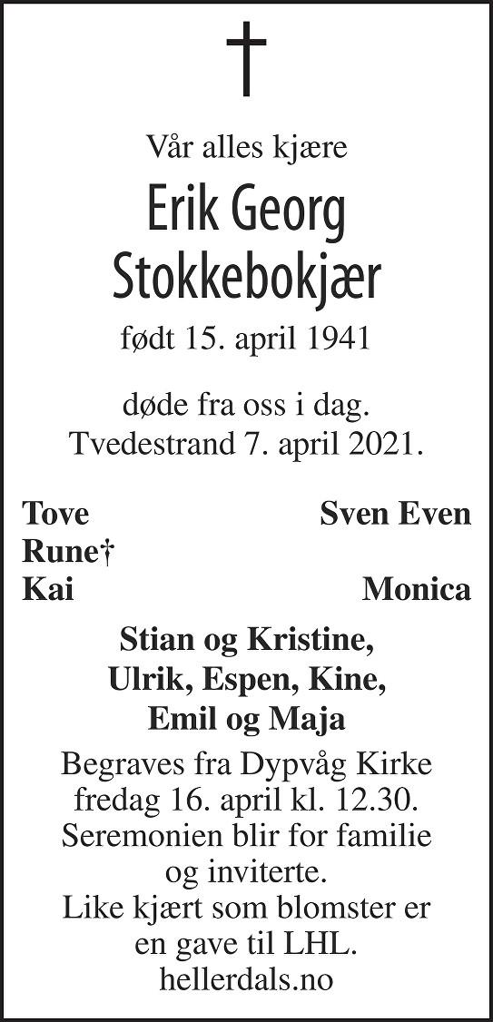 Erik Georg Stokkebokjær Dødsannonse