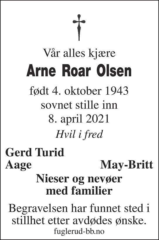 Arne Roar Olsen Dødsannonse
