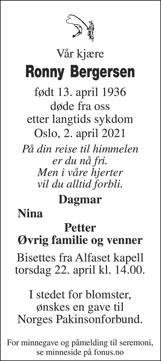 Ronny Bergersen Dødsannonse