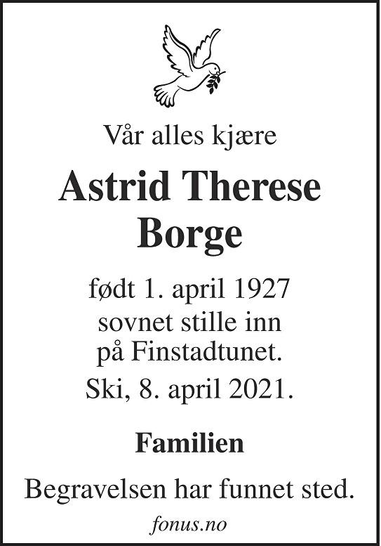 Astrid Therese Borge Dødsannonse