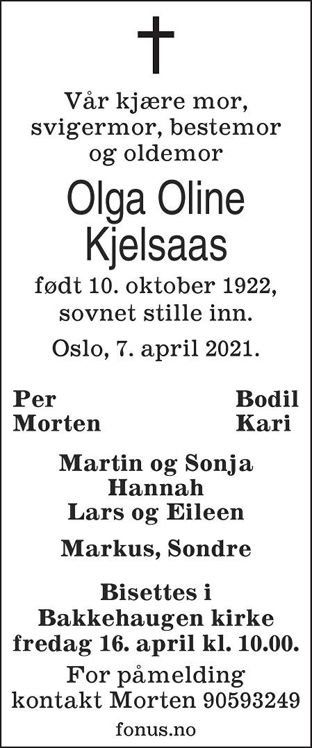 Olga Oline Kjelsaas Dødsannonse