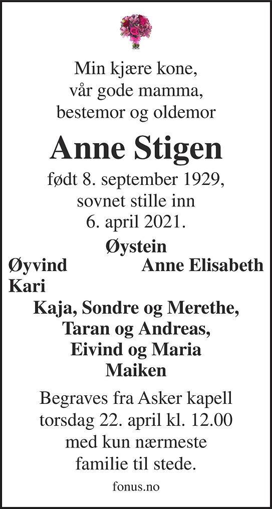 Anne Stigen Dødsannonse