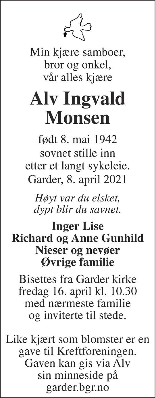 Alv Ingvald Monsen Dødsannonse