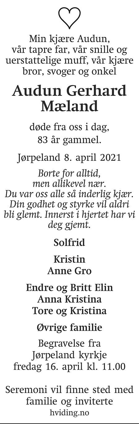 Audun Gerhard Mæland Dødsannonse