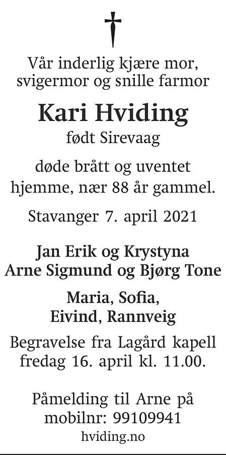 Kari Signe Louise Hviding Dødsannonse