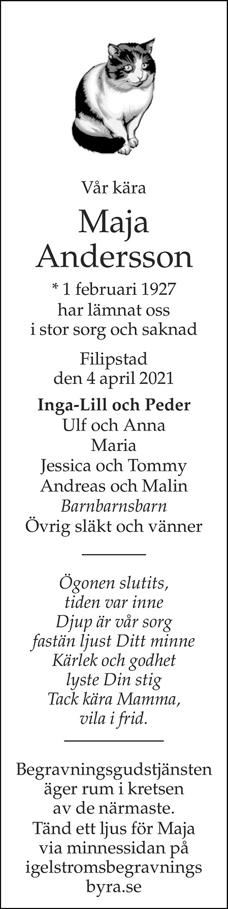 Maja Andersson Death notice