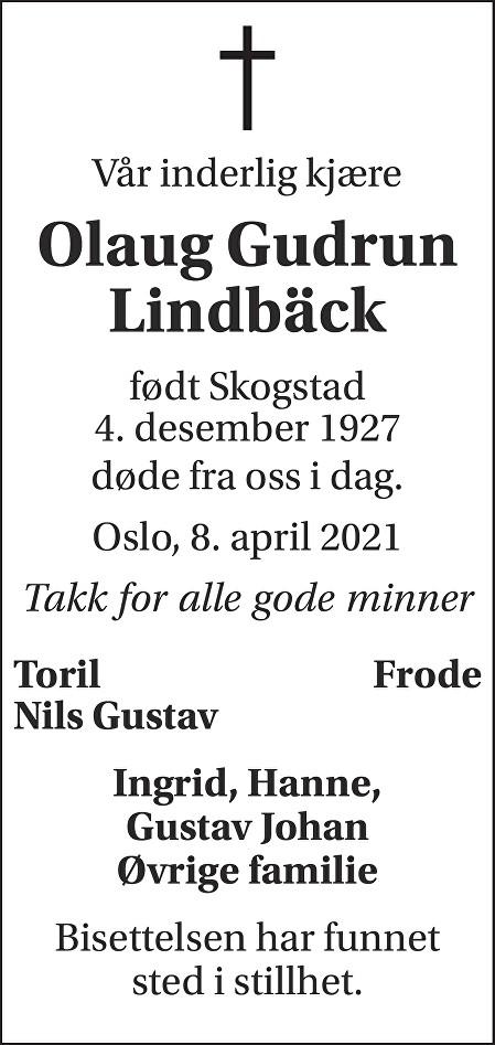 Olaug Gudrun Lindbäck Dødsannonse