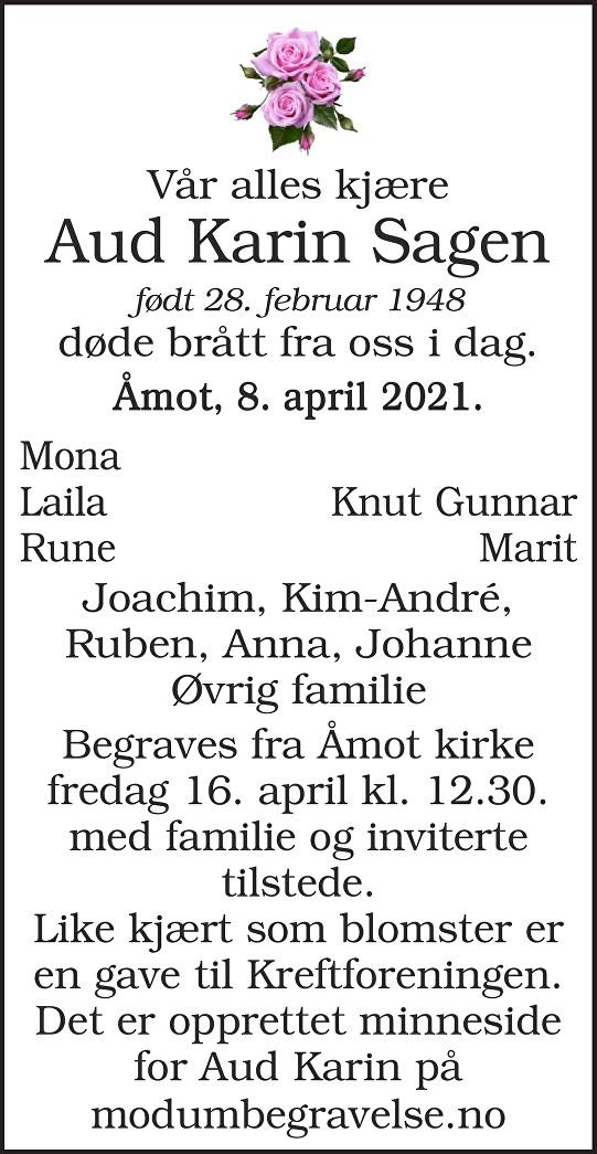 Aud Karin Sagen Dødsannonse