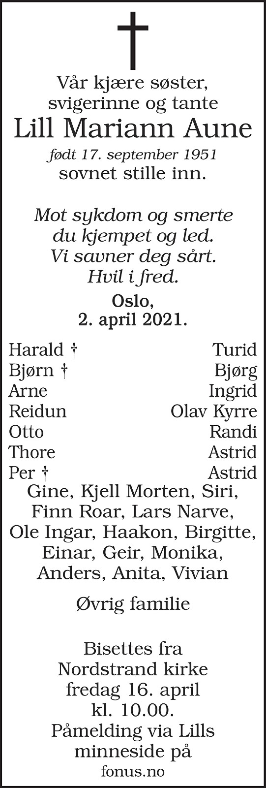 Lill Mariann Aune Dødsannonse