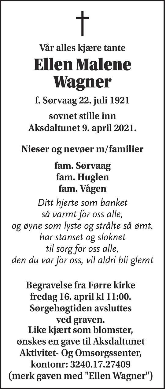 Ellen Malene Wagner Dødsannonse