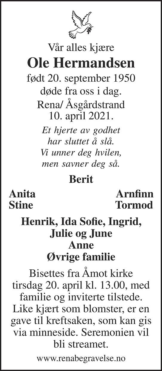 Ole Hermandsen Dødsannonse