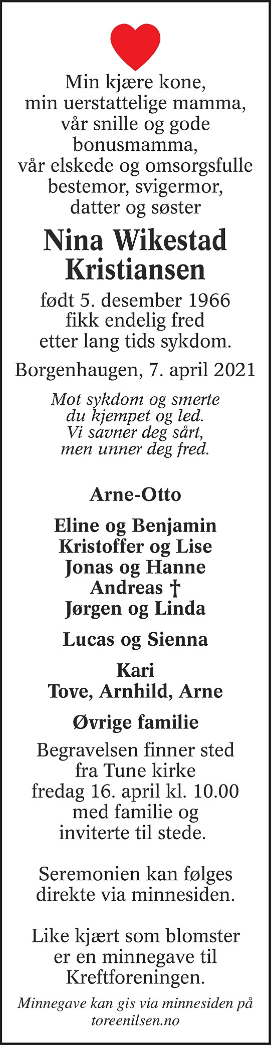 Nina Wikestad Kristiansen Dødsannonse