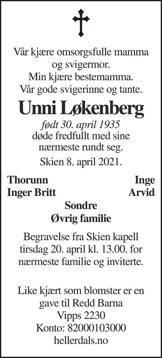 Unni Løkenberg Dødsannonse