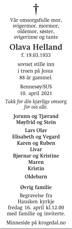 Olava Helland Dødsannonse