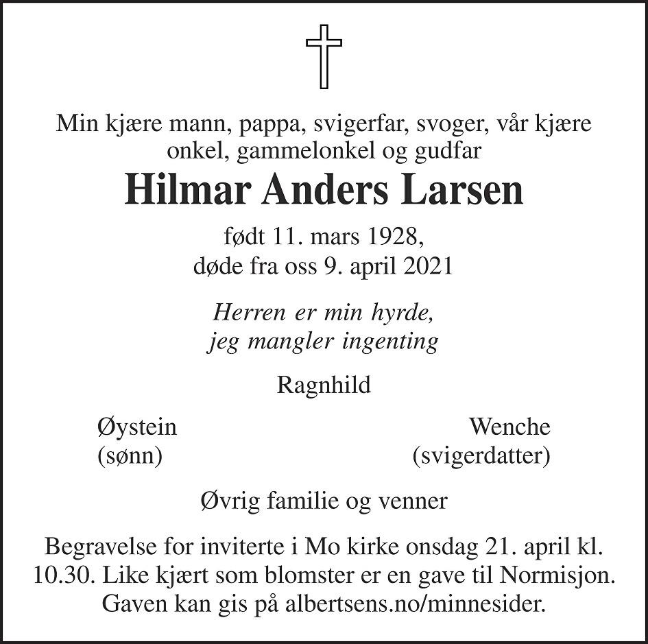 Hilmar  Larsen Dødsannonse