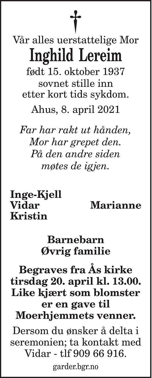 Inghild Lereim Dødsannonse