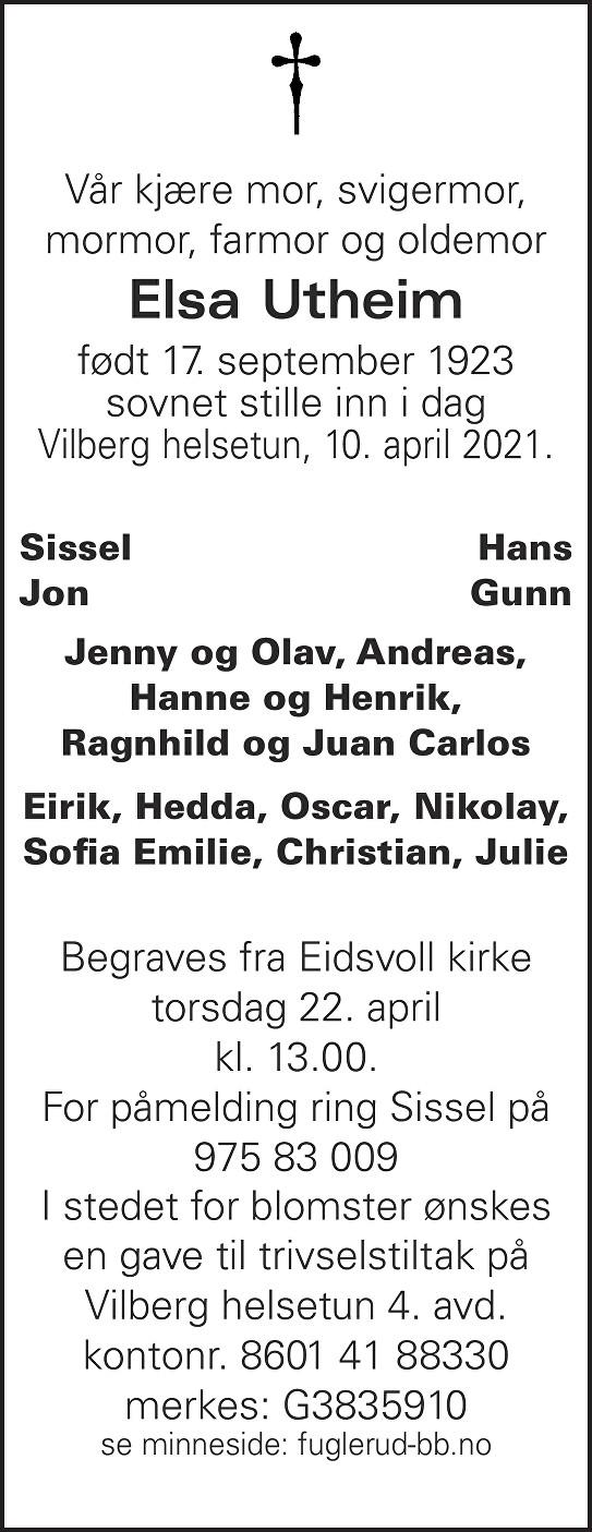 Elsa Utheim Dødsannonse