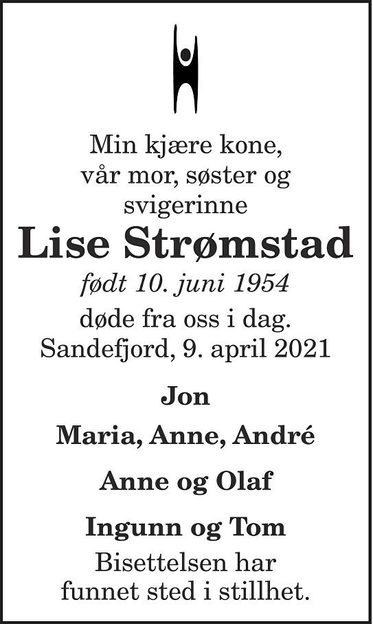 Lise Strømstad Dødsannonse