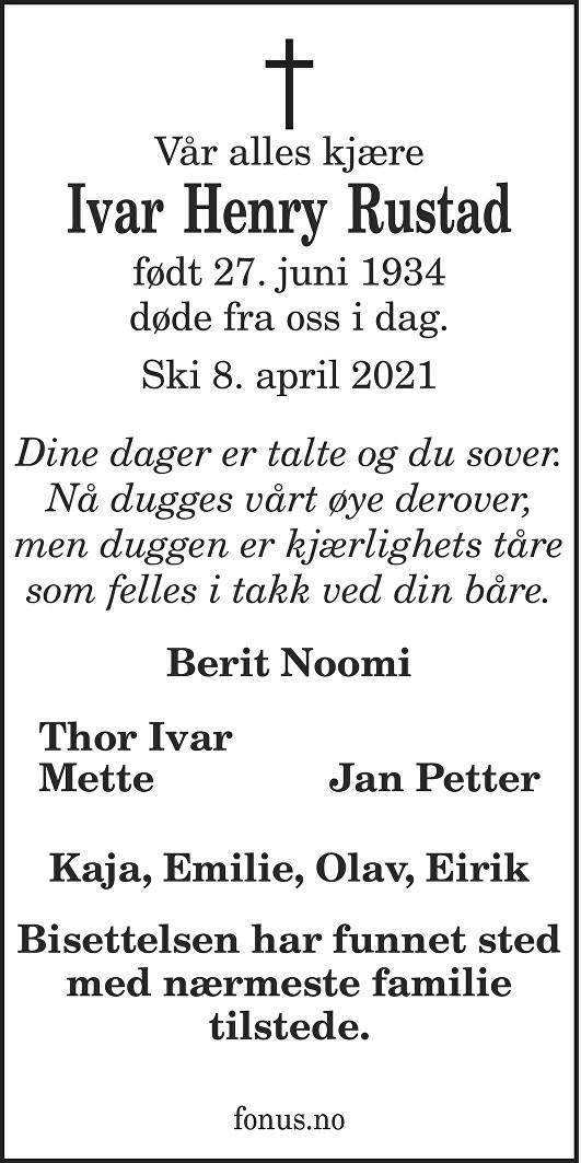Ivar Henry Rustad Dødsannonse