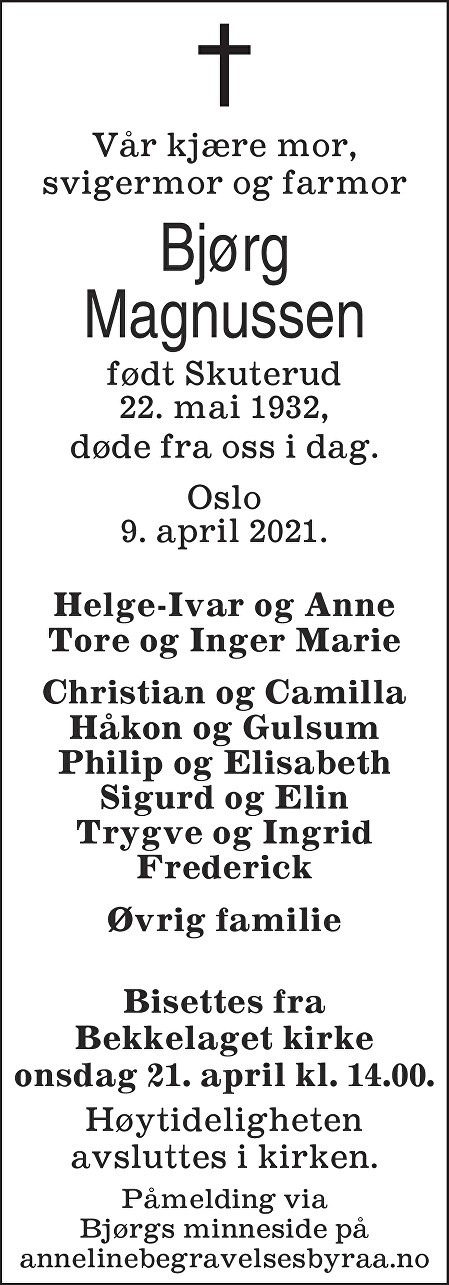 Bjørg Magnussen Dødsannonse