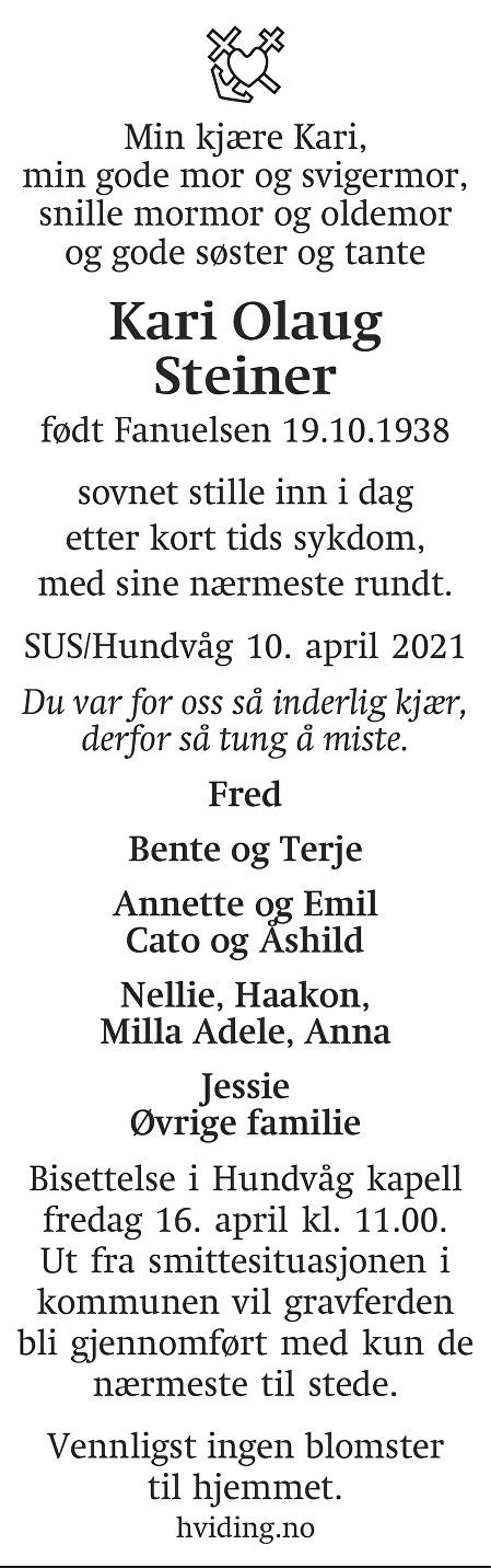 Kari Olaug Steiner Dødsannonse