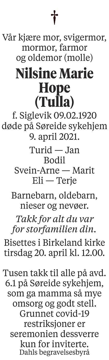 Nilsine Marie Hope Dødsannonse
