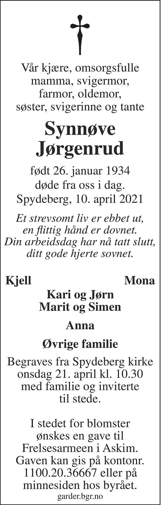 Synnøve Jørgenrud Dødsannonse