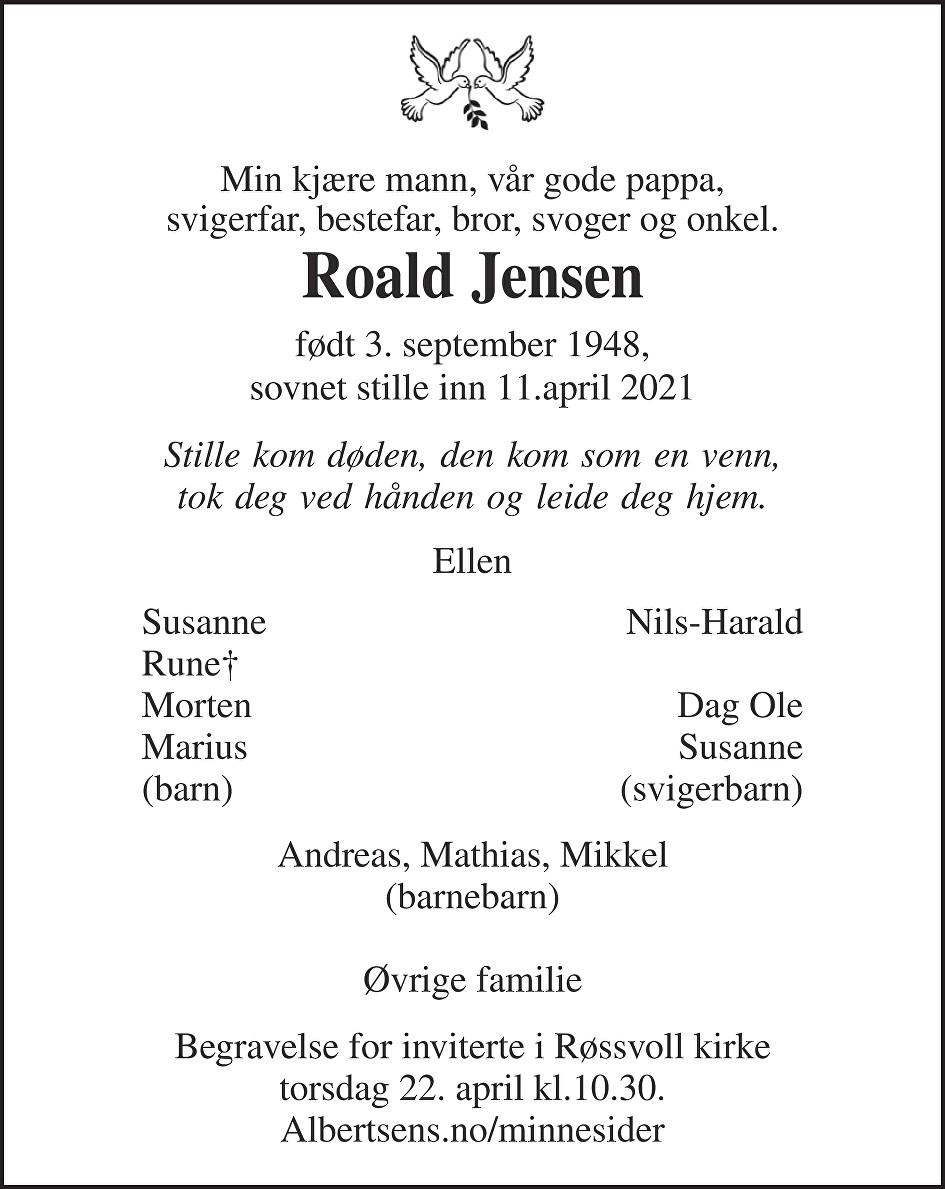 Roald Jensen Dødsannonse