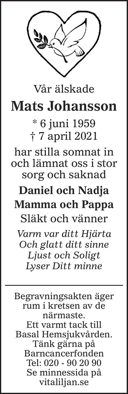 Mats Johansson Death notice