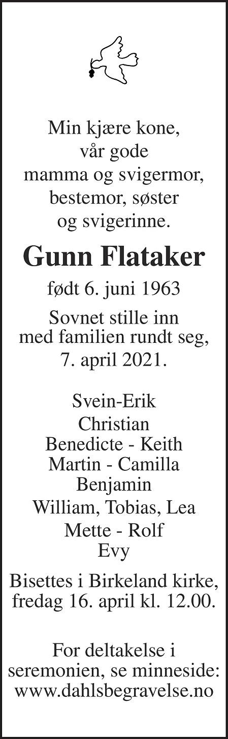 Gunn Flataker Dødsannonse