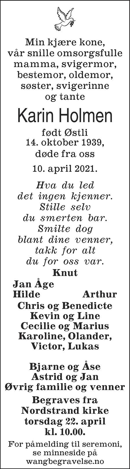 Karin Holmen Dødsannonse