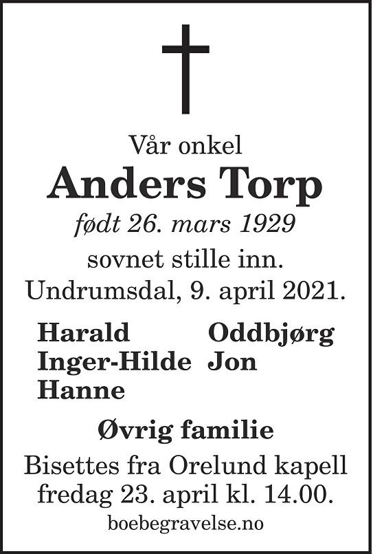 Anders Torp Dødsannonse