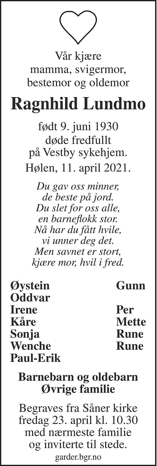 Ragnhild Lundmo Dødsannonse