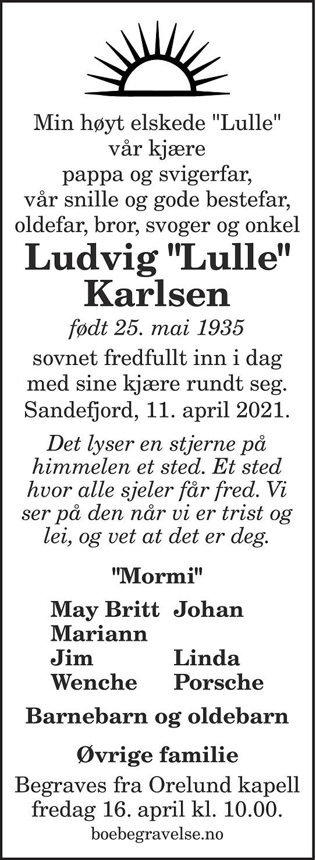 """Ludvig """"Lulle"""" Karlsen Dødsannonse"""