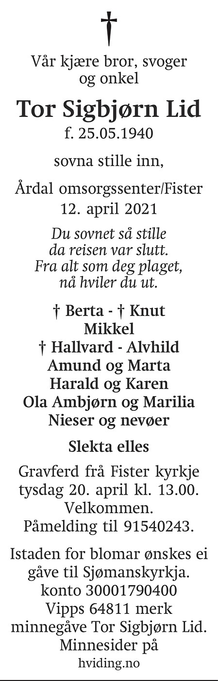 Tor Sigbjørn Lid Dødsannonse
