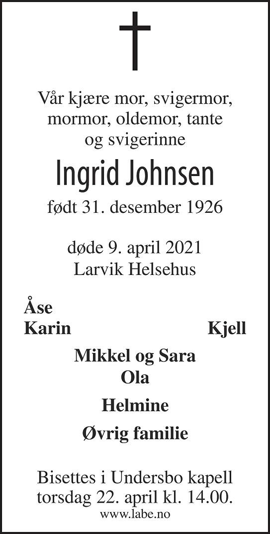 Ingrid Johnsen Dødsannonse