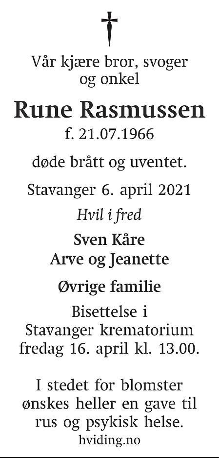 Rune Rasmussen Dødsannonse
