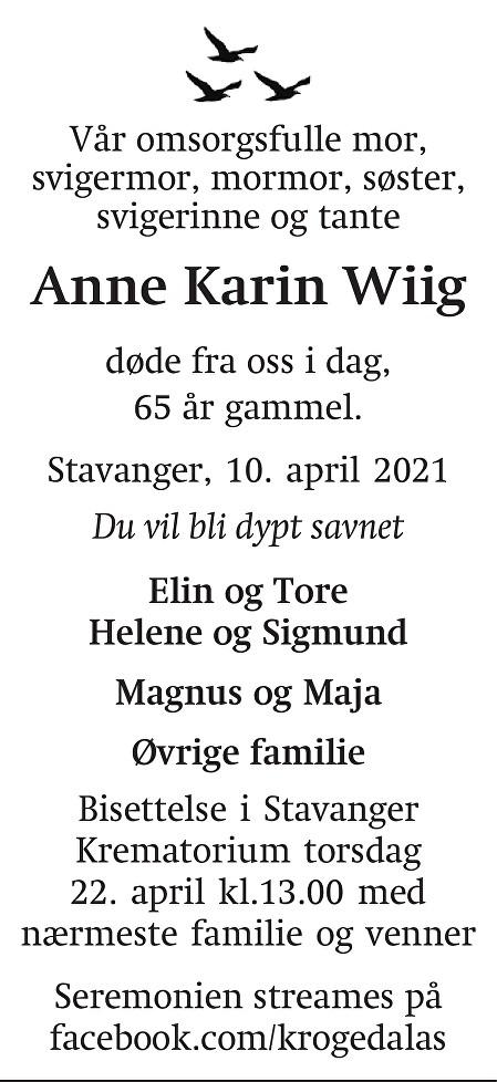 Anne Karin  Wiig Dødsannonse