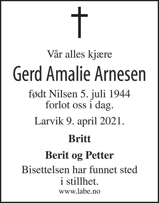 Gerd Amalie Arnesen Dødsannonse