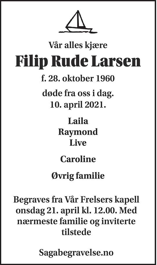 Filip Rude Larsen Dødsannonse
