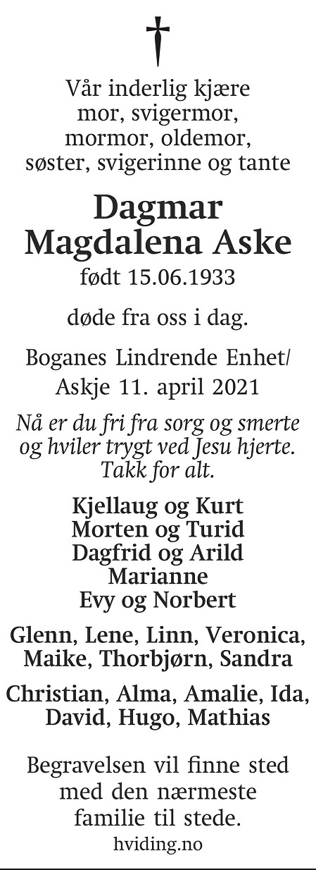 Dagmar Magdalena  Aske Dødsannonse