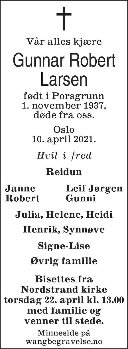 Gunnar Robert Larsen Dødsannonse