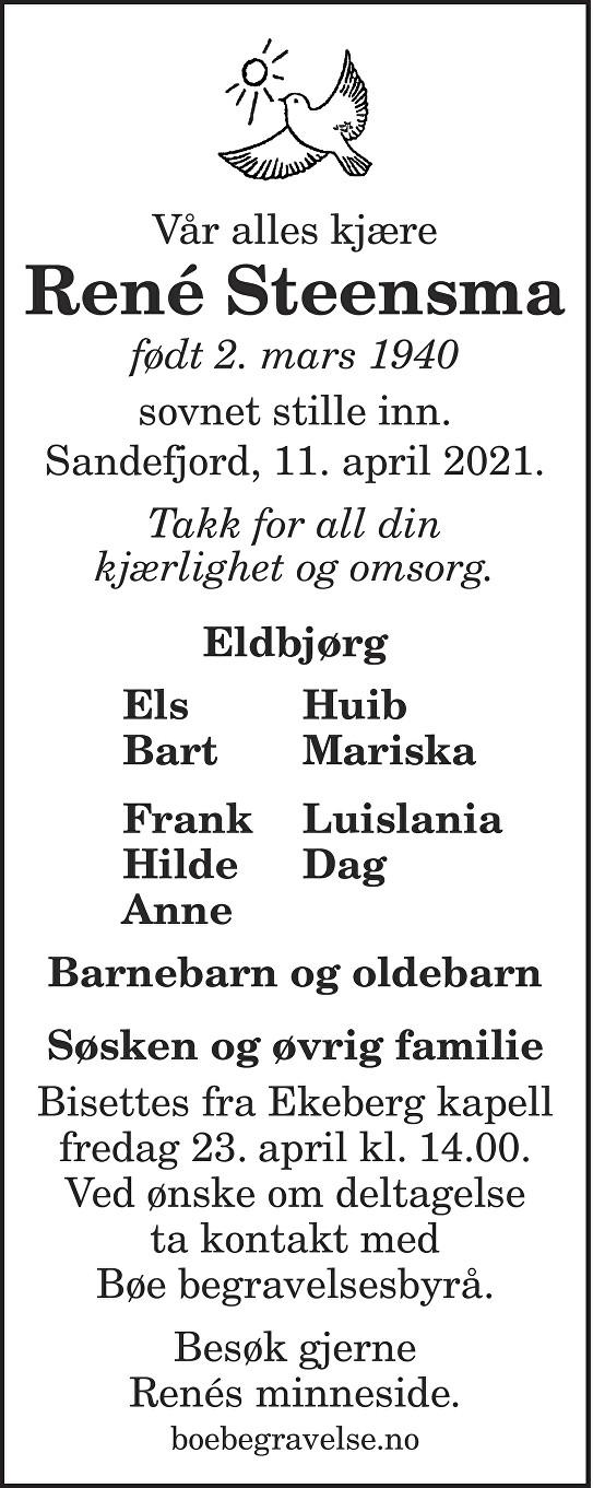 René Steensma Dødsannonse