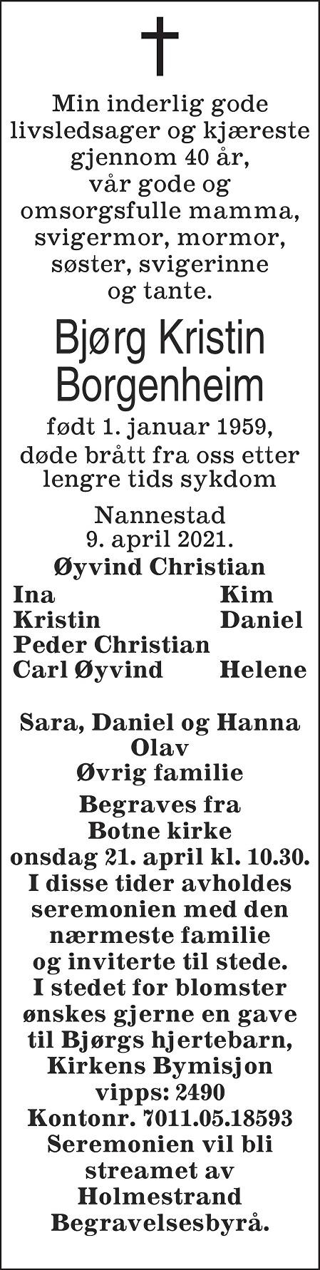 Bjørg Kristin Borgenheim Dødsannonse