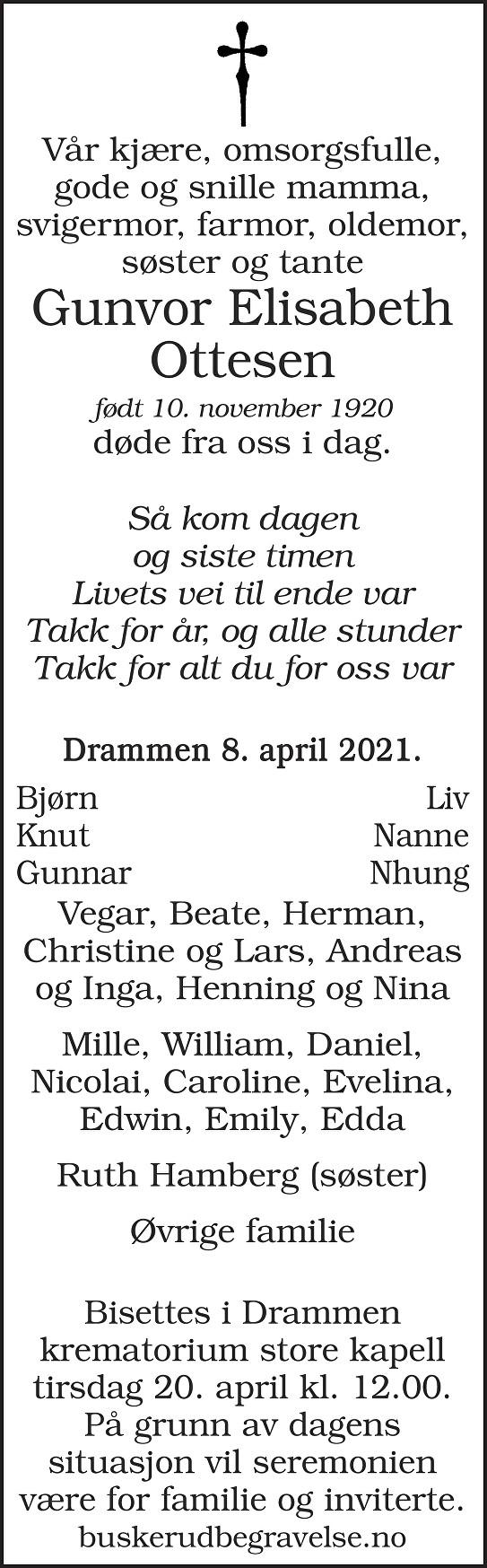 Gunvor Elisabeth Ottesen Dødsannonse