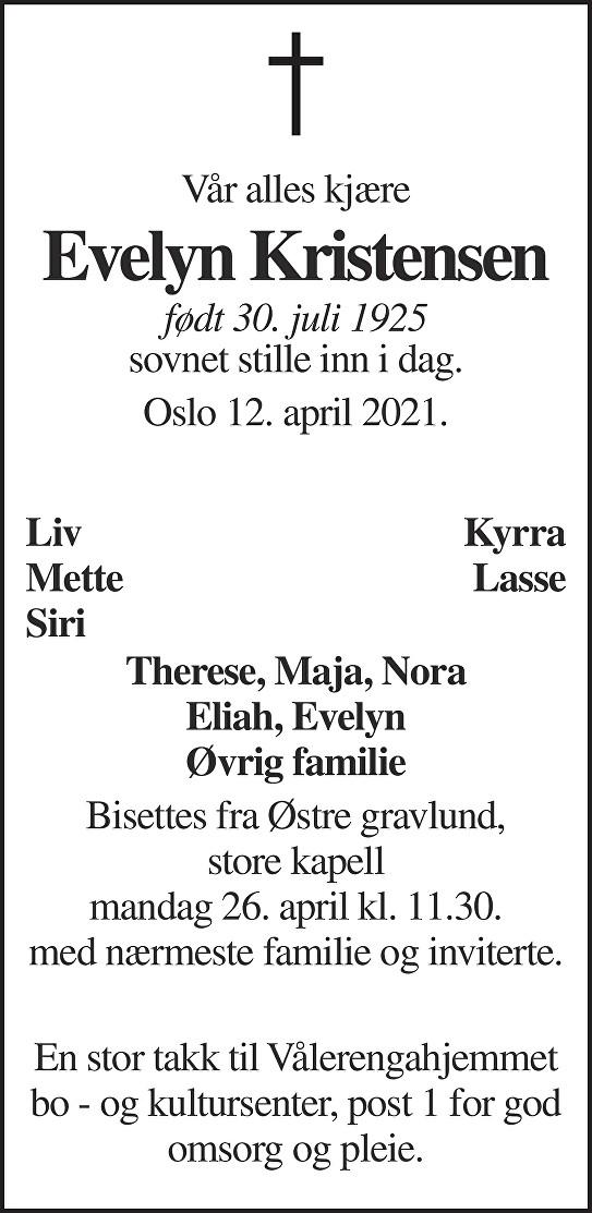 Evelyn Kristensen Dødsannonse