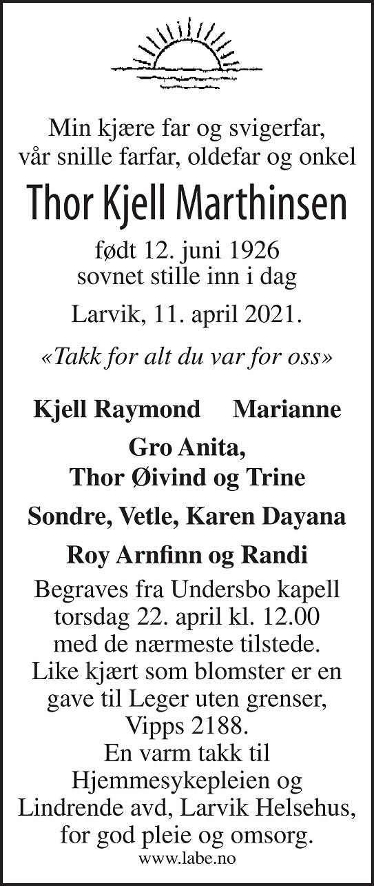 Thor Kjell Marthinsen Dødsannonse
