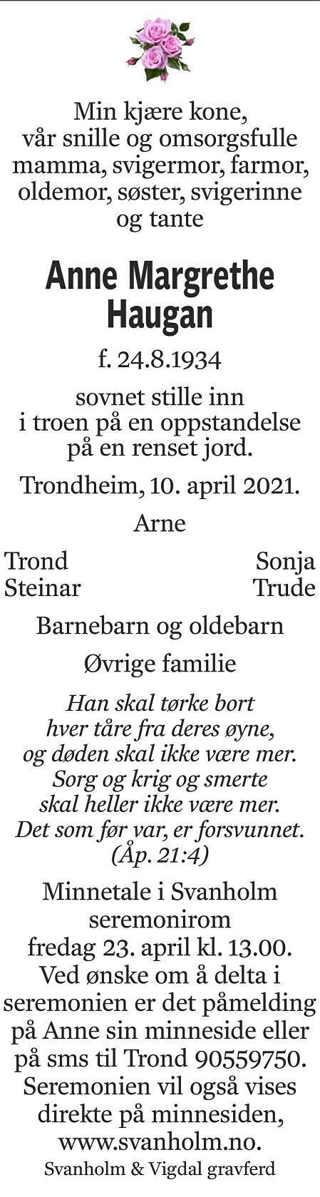 Anne Margrethe Haugan Dødsannonse